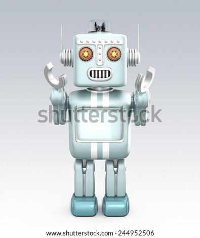 Cute retro robot raising his hands on gray background. Clipping path available. - stock photo