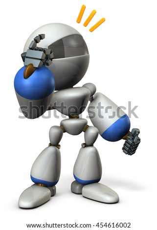 Cute robot boasts ability, pointing its head. 3D illustration - stock photo