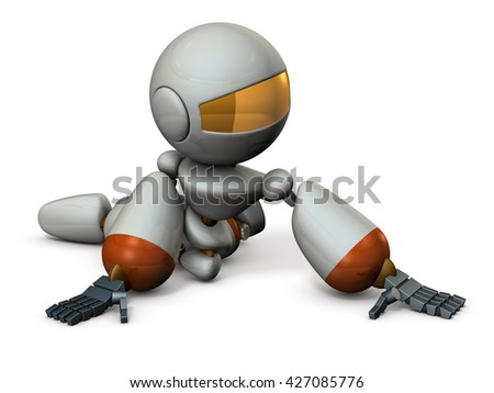 Cute robot has to surrender. 3D illustration - stock photo