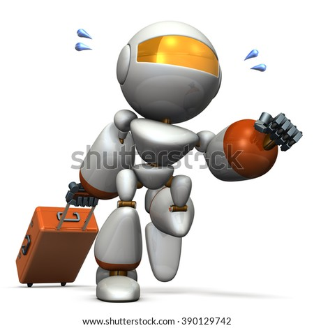 Cute robot is starting to travel. computer generated image - stock photo