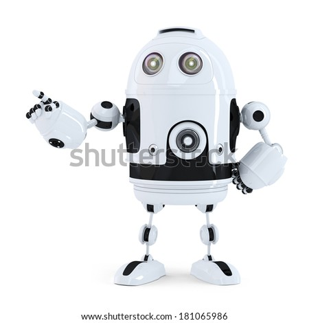 Cute robot pointing on something. Isolated on white background