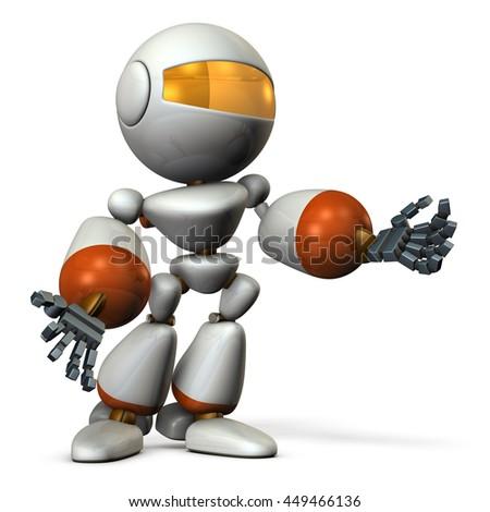 Cute robot resists desperately. 3D illustration - stock photo