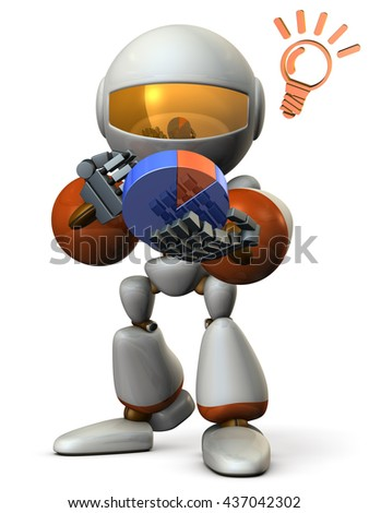 Cute robot strategize with the pie chart. 3D illustration - stock photo