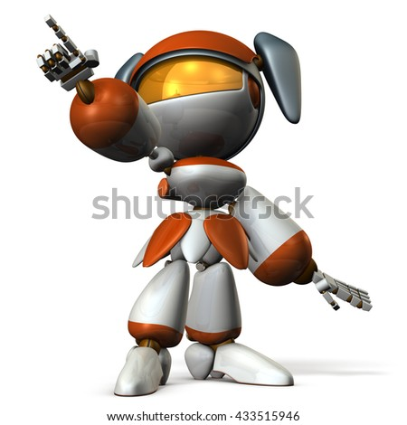 Cute robot was pointing the target. 3D illustration - stock photo