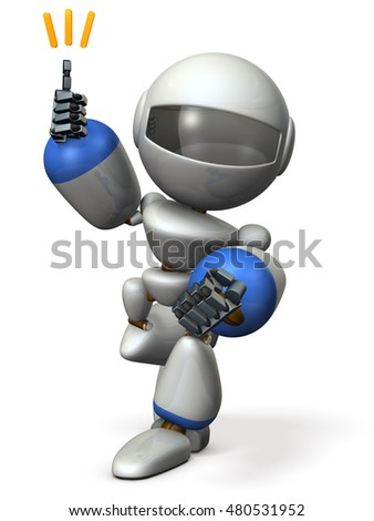 Cute robot will come happily rushed. 3D illustration