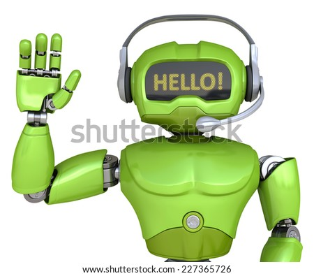 Cute robot with headphones says Hello! - stock photo