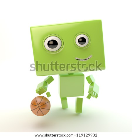 Cute robotic toy plays basketball / Smiling athletic android