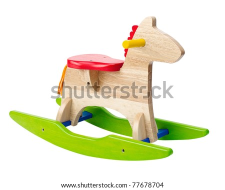 Cute rocking horse chair children could enjoy the riding an image isolated on white  - stock photo