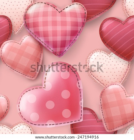 Cute romantic seamless pattern with hand drawn hearts