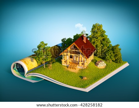 Cute rural house in a forest on a page of opened magazine.  Unusual travel 3D illustration