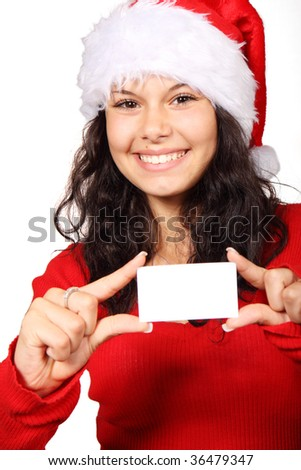 Cute Santa Claus holding a blank business card isolated on white background - stock photo