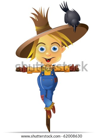 Cute scarecrow with a black crow character graphic stock photo