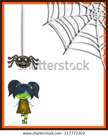 Cute scary girl with smiling spider and web in simple frame