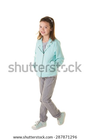 Cute school aged child isolated on white - stock photo