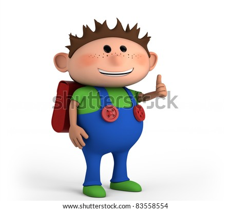 cute school boy giving thumbs up - high quality 3d illustration - stock photo