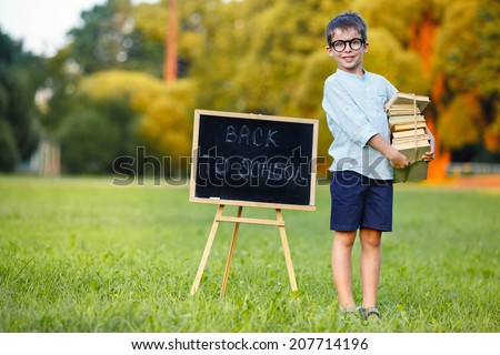 Cute schoolboy carrying a large stack of books - stock photo