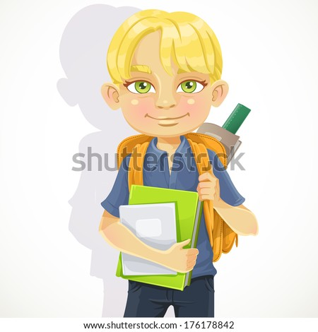Cute schoolboy with textbooks and notebooks backpack - stock photo