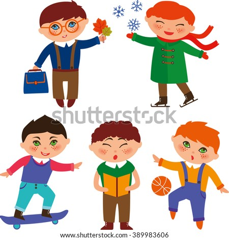 Cute schoolboys skating, playing with the ball, reading, singing, skateboarding and studying  - stock photo