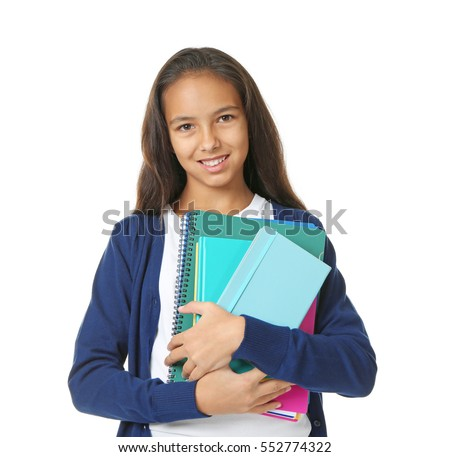 Cute schoolgirl on white background