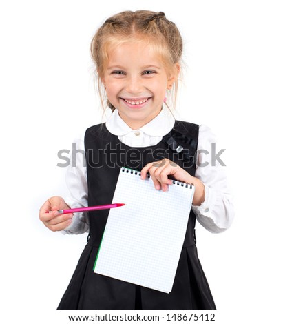cute schoolgirl with a white sheet of notebook and pen - stock photo