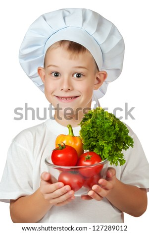 cute scullion is holding fresh vegetables. isolated