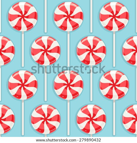Cute seamless background with red and white striped candy - stock photo
