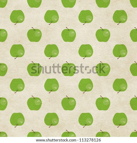 Cute seamless green apple pattern on paper background. Fruity patterns collection - stock photo