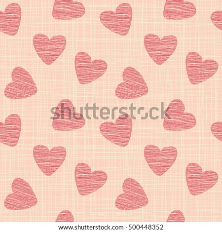 Cute seamless pattern illustration. St. Valentine`s day decoration symbol concept. Many repeating hearts on the background