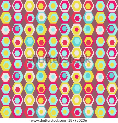 Cute seamless retro pattern of hexagons. Seamless background can be used for wallpaper, pattern fills, web page background, surface textures. - stock photo