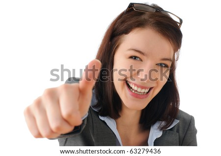 Cute secretary giving a thumbs up - stock photo