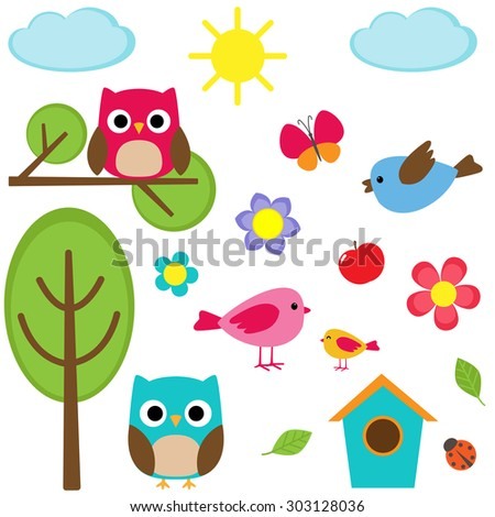 Cute set of different summer elements. Raster version - stock photo