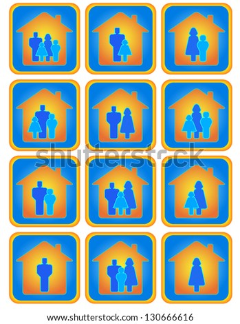 Cute set of many positive family buttons - stock photo