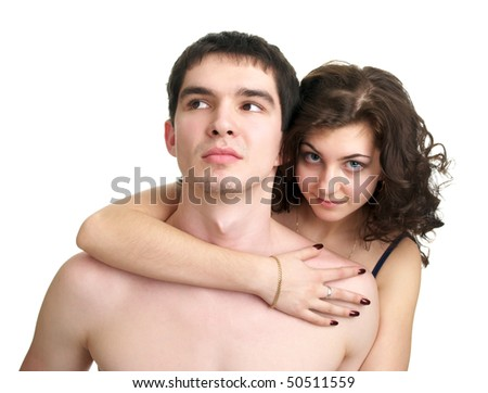 Cute sexual naked couple isolated over white background - stock photo