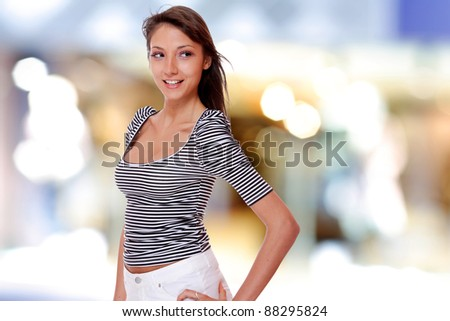 Cute sexy woman  on a bokeh background