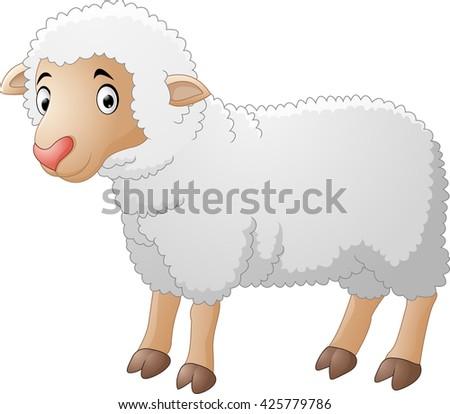 Cute sheep cartoon - stock photo