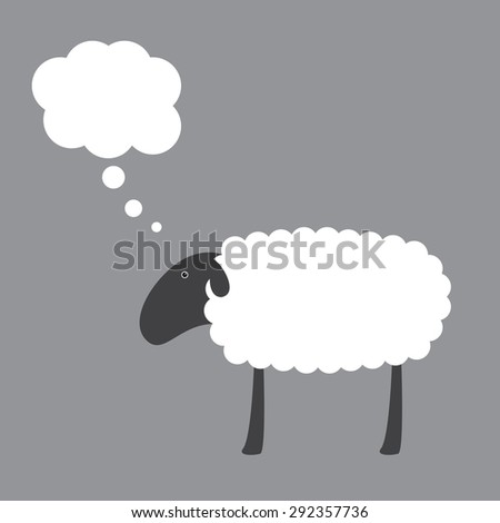 Cute sheep with dark grey head, ear, eye, legs and white body with space for your text and dream bubble over it isolated on grey background. Logo template, design element - stock photo