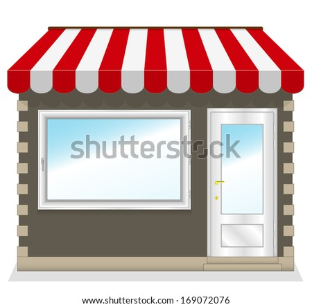 Cute shop icon with red awnings. Illustration. - stock photo