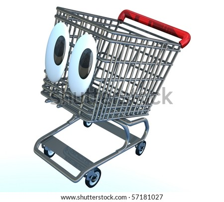 Cute shopping cart character illustration with wide big eyes