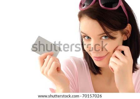 Cute shopping girl - stock photo