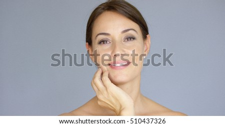 Cute single young adult woman with closed eyes