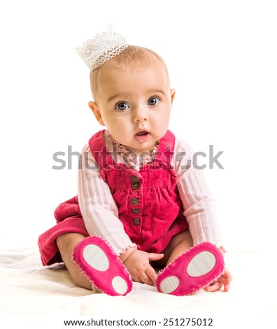 cute six-month girl in costume princess - stock photo