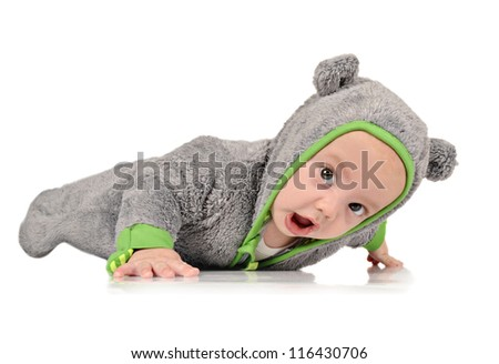 Cute six month old baby boy on white background - stock photo