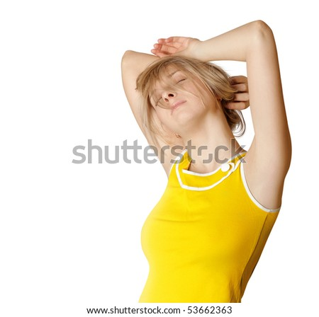 cute sleeping girl stratching on white backgroung - stock photo