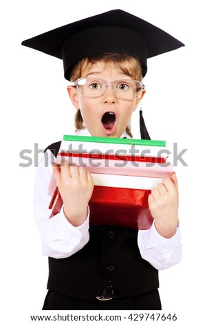 Cute smart boy in a suit and academic hat holding books and shouting. Educational concept. Isolated over white. - stock photo