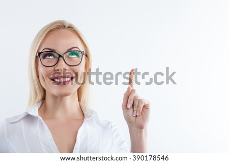 Cute smart girl know a lot of information - stock photo