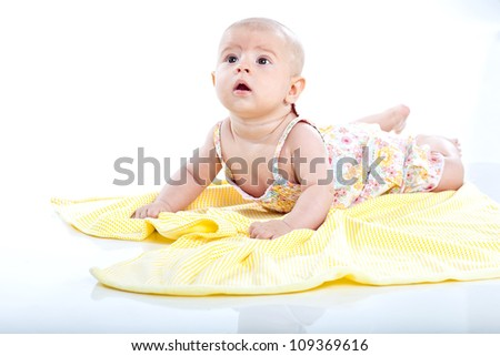 Cute smiling baby on white - stock photo