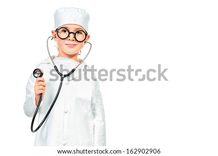 Cute smiling boy playing a doctor. Different occupations. Isolated over white. - stock photo