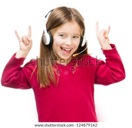cute smiling child in headset isolated over white