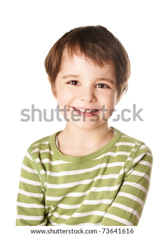 Cute smiling happy little boy isolated on white background - stock photo
