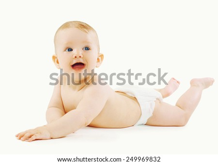 Cute smiling little baby in diapers  - stock photo
